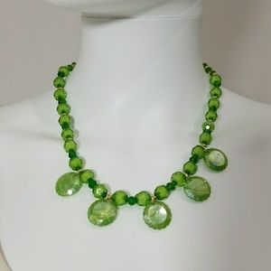 Green Earrings and Necklace Set